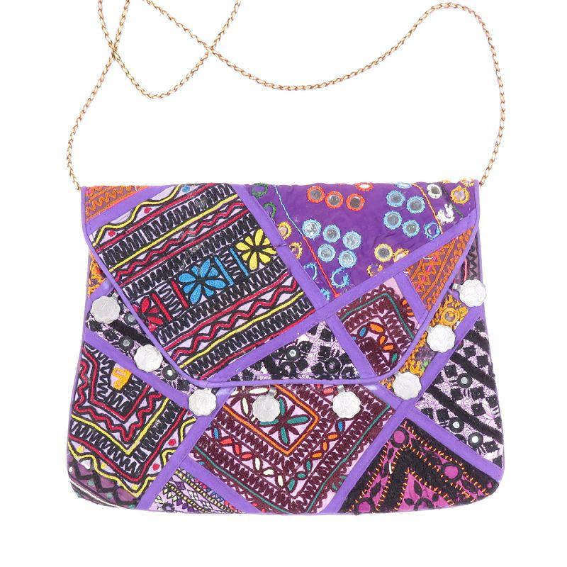 5bb71f66176d Purple Vintage Bohemian Ladies Clutch Bag Tribal Ethnic Coin Embroidered Banjara  Boho Bag
