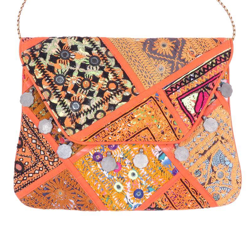 6a3c9d3fb8a3 Orange Vintage Bohemian Ladies Clutch Bag Tribal Ethnic Coin Embroidered Banjara  Boho Bag - Accessories - Women
