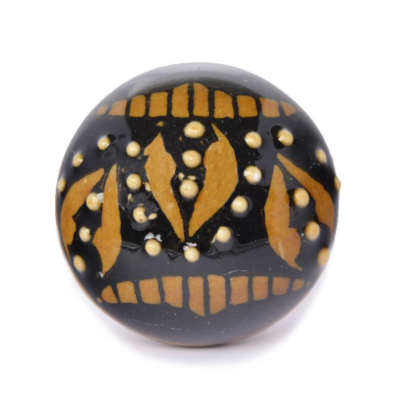 Black Hand Painted Floral Ceramic Door Knobs For Cabinets Drawers Online