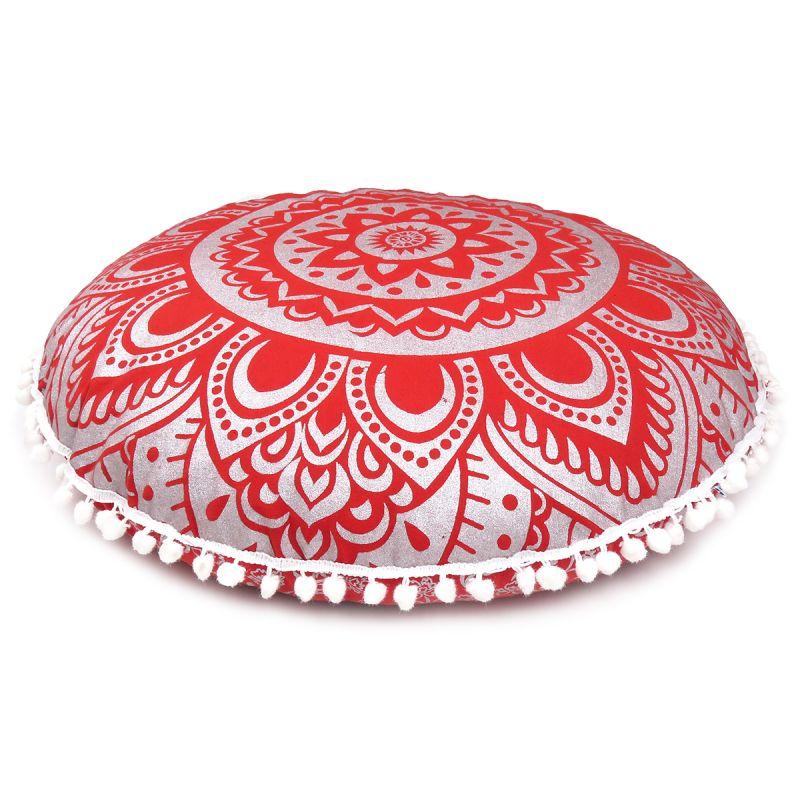 Red Silver Living Room Bohemian Decorative Floor Cushion Cover Boho ...
