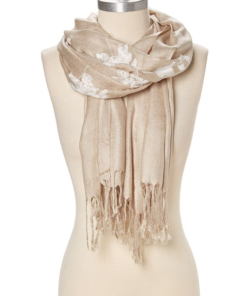 cb0f150a1 Beige Soft and Luxurious Floral Embroidered Pashmina Cashmere Scarf for  Women and Winter Shawl Wrap Online
