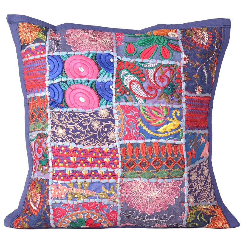 Dark Blue Floral Patchwork Cushion Cover for Living Room Sofa Couch ...