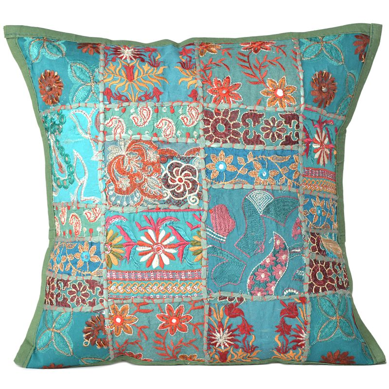 Dark Green Floral Patchwork Cushion Cover For Living Room Sofa Couch Square  16X16 Inch Throw Pillow Cases Online