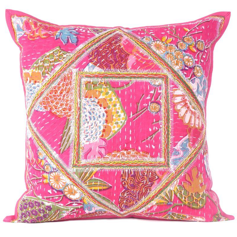 Pink Floral Kantha Work Cushion Cover For Living Room Sofa Couch Boho Decor  16X16 Inch Throw Pillow Cases Online