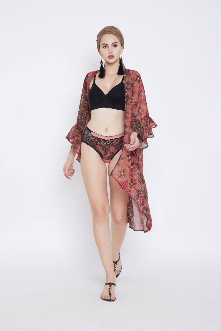 6f062a5eed Digital Printed Floral Bell Sleeve Beach Cover Up for Women Summer Swimsuit  Beach Dress Online