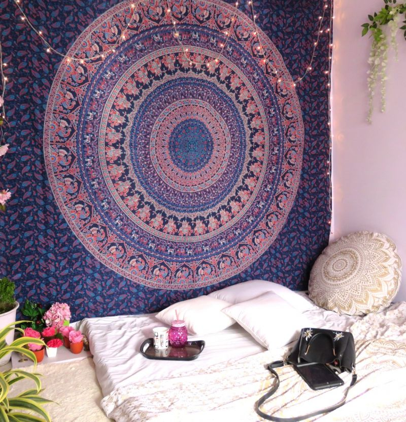 Dark Blue Hippie Boho Mandala Tapestry Elephant Wall Hanging College Dorm  Room Tapestries Beach Blanket Queen Size Bedspreads cddc0f4a70