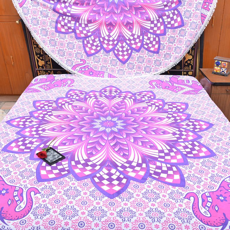 Pink Printed Floral Mandala Tapestry Boho Hippie Wall Hanging Dorm Room  Tapestries Picnic Beach Blanket Queen Size Bedspreads bf805fd04c