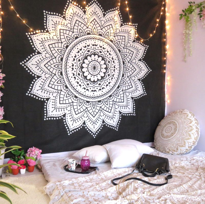 Black White Sunflower Ombre Mandala Tapestry Wall Hanging Indian Online 8efd81cd33