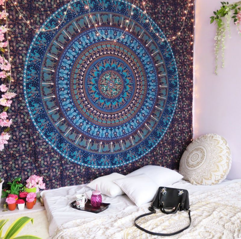 Elephant Camel Queen Wall Tapestry Blue Mandala Indian Hippie Hanging Decor  Boho Online af763af92