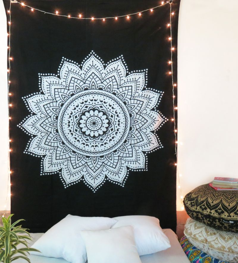 Black And White Twin Size Indian Decorative Star Mandala Tapestry