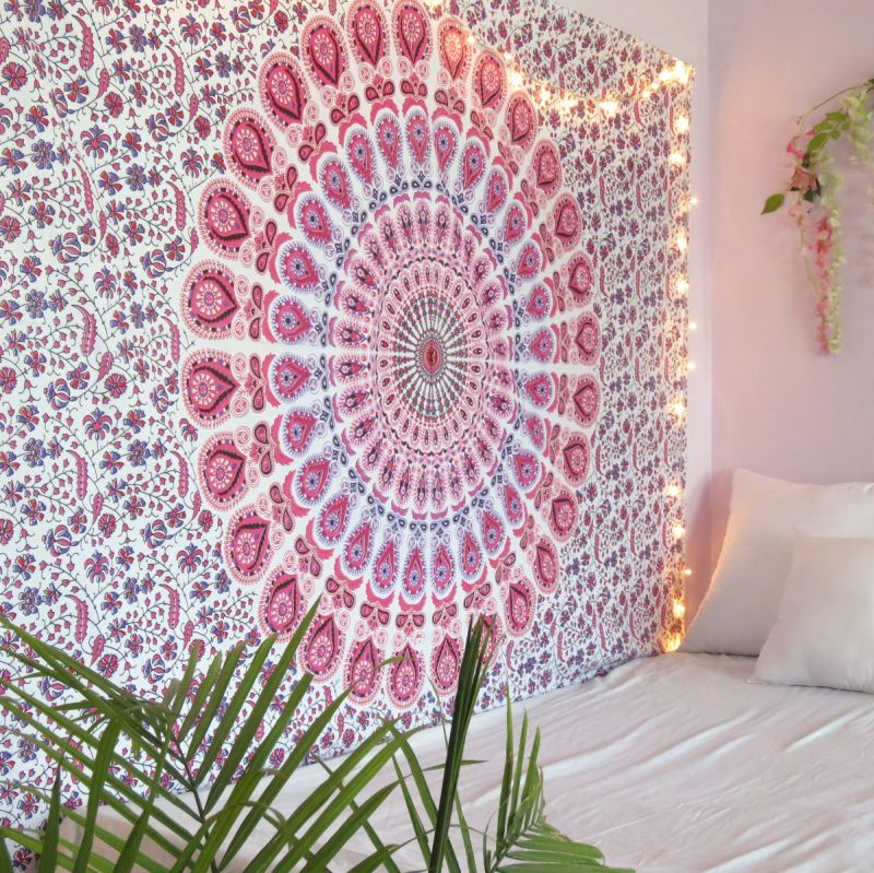Pink Hippie Bohemian Mandala Tapestry Boho Indian Wall Hanging Dorm Room  Picnic Throw Blanket Twin Size Bedspread 54886a0d4c