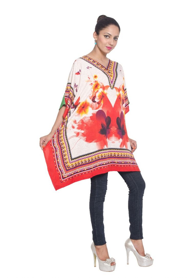 White Floral Short Tunic Kaftan Polyester Plus Size Dresses for ...