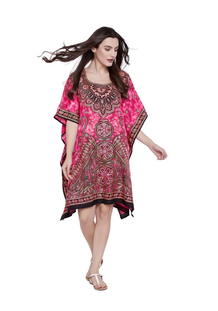 b2471922caa Pink Floral Paisley Designer Plus Size Kaftan Dress for Women Short Tunic  Kimono Online