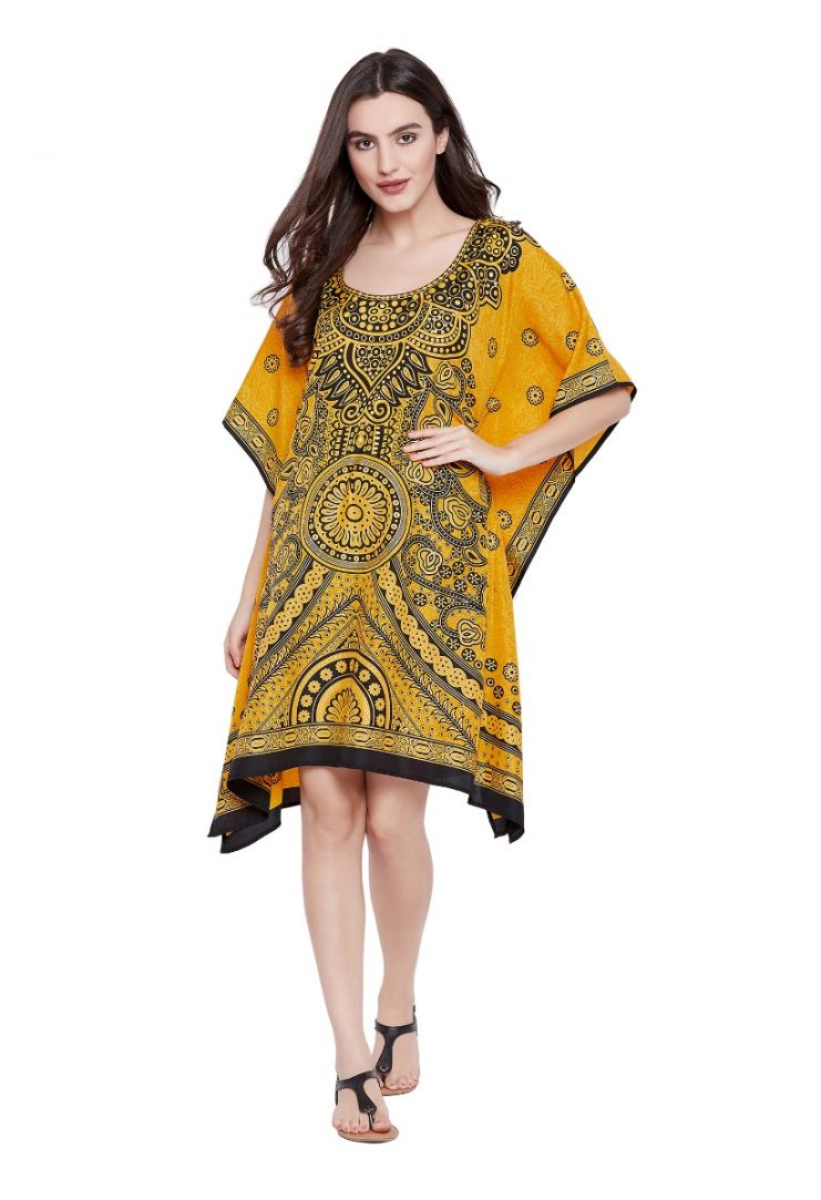 e4ce12c094 Yellow Floral Paisley Designer Plus Size Kaftan Dress for Women Short Tunic  Kimono Online
