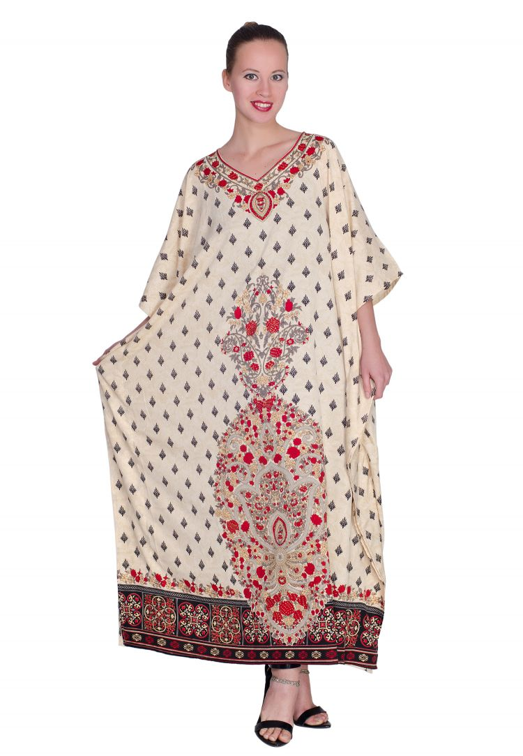 074cfaf6b5 Multicolor Plus Size Kaftan Dress for Women Floral Print Full Lenth Maxi  Beach Coverup Long Beach Wear Online