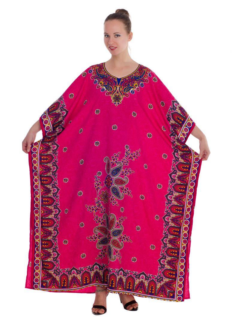 0b52efb692 Pink Plus Size Kaftan Dress for Women Paisley Print Full Lenth Maxi Beach  Coverup Long Beach Wear Online