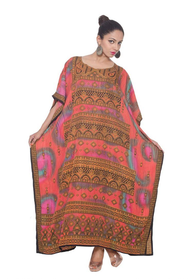 1eb14763612 Pink Plus Size Kaftan Dress for Women Paisley Long Caftan Maxi Beach Cover  Up Dresses Online