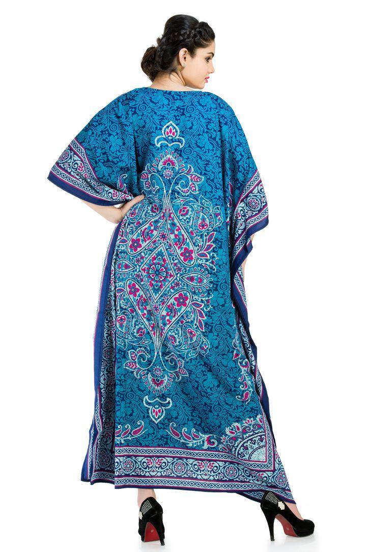 e55b0fee4a Blue Plus Size Kaftan Dress for Women Paisley Designer Full Lenth Maxi  Beach Coverup Long Beach Wear Online