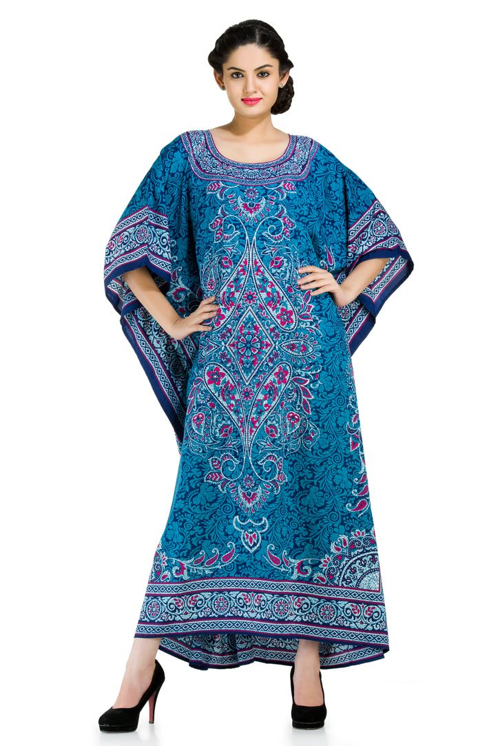 f6ee4297cc05 Blue Plus Size Kaftan Dress for Women Paisley Designer Full Lenth Maxi  Beach Coverup Long Beach Wear Online