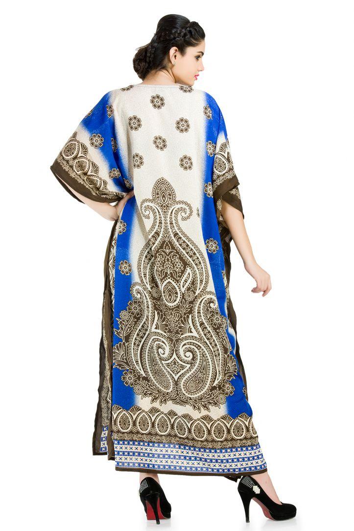 f721a6f511 Blue Plus Size Designer Kaftan Dress for Women Paisley Design Full ...