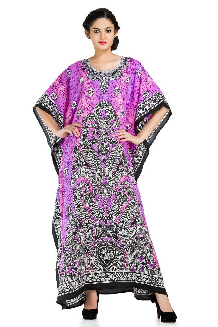 Purple Plus Size Kaftan Dress For Women Floral Print Full Lenth Maxi
