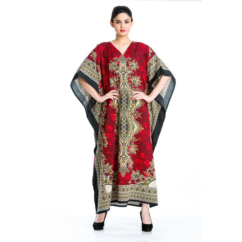 c477d42a6c Red Plus Size Designer Long Kaftan Dress for Women Printed Maxi Beach  Coverup Online