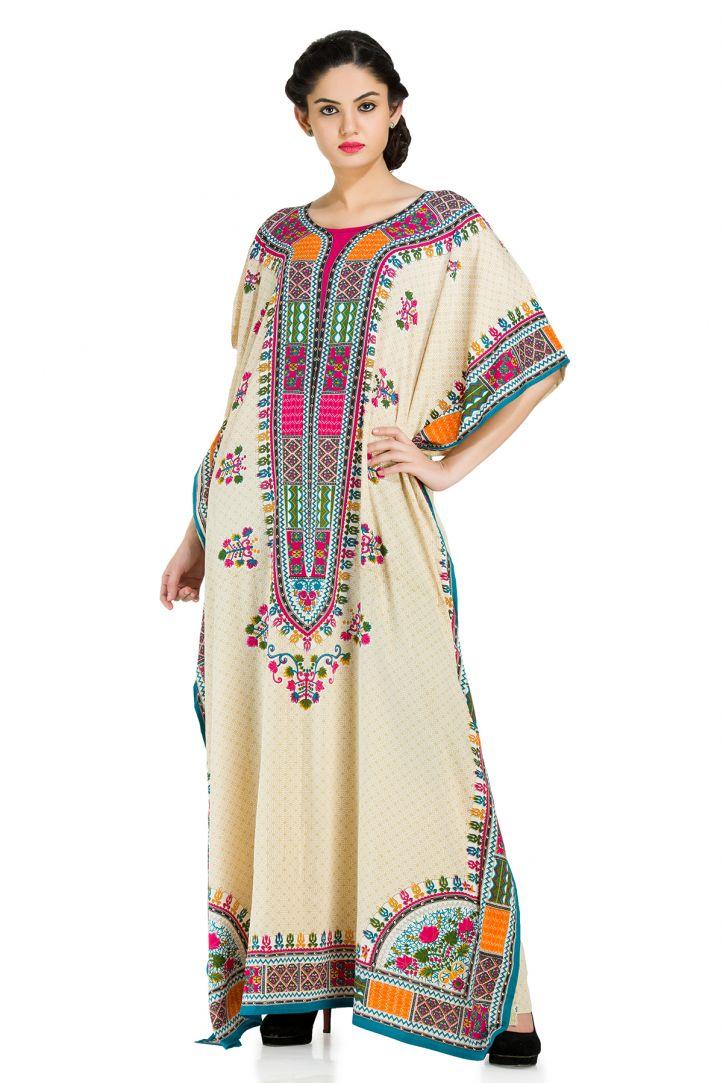 1b08f1a3b2 Off-White Plus Size Kaftan Dress for Women Floral Print Designer Full Lenth Maxi  Beach Coverup Online