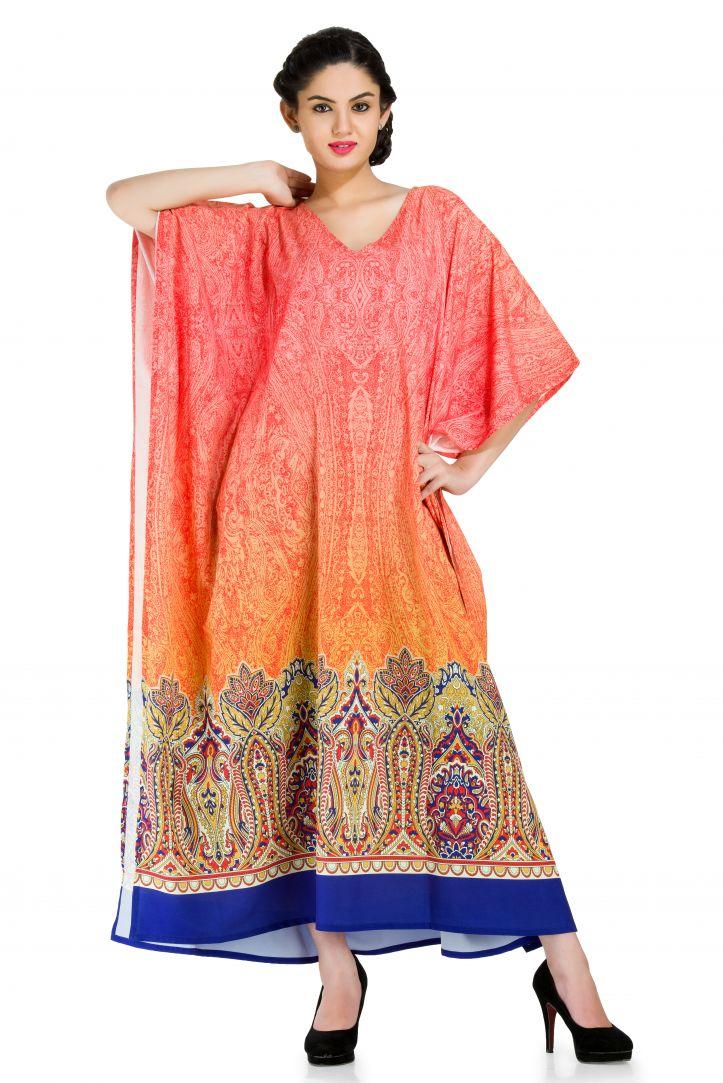3faf6a27afafc Multicolor Women's Long Kaftan Dress Summer Beach Wear Kimono Maxi Cover Up  Caftan Dresses for Women