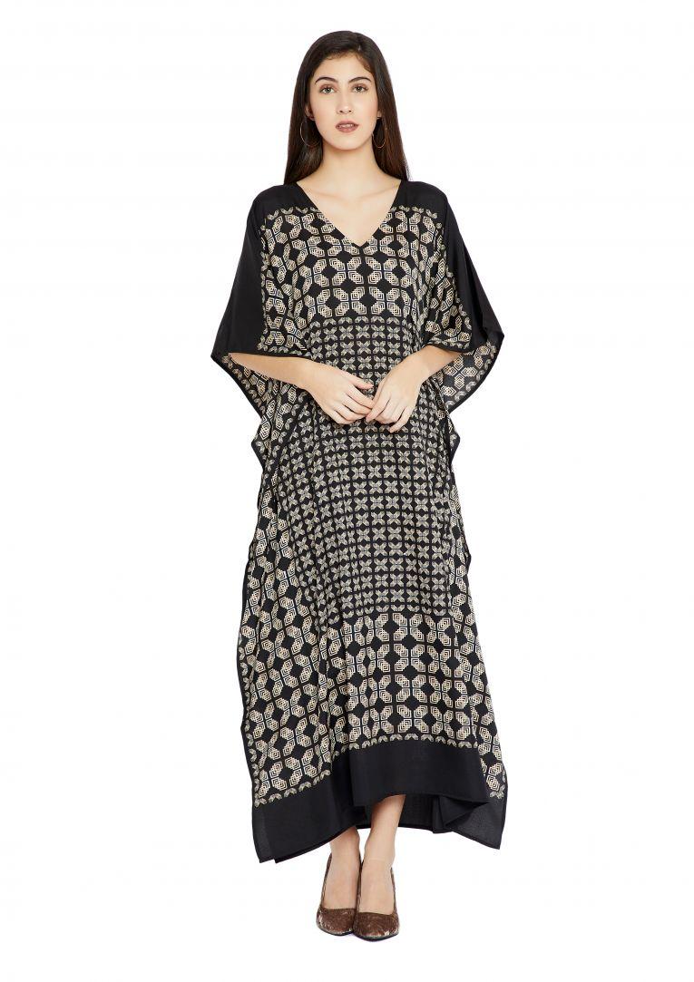 6d3493e2534 Black Geometric Design Plus Size Kaftan Dress for Women Full Length Maxi  Kimono Online