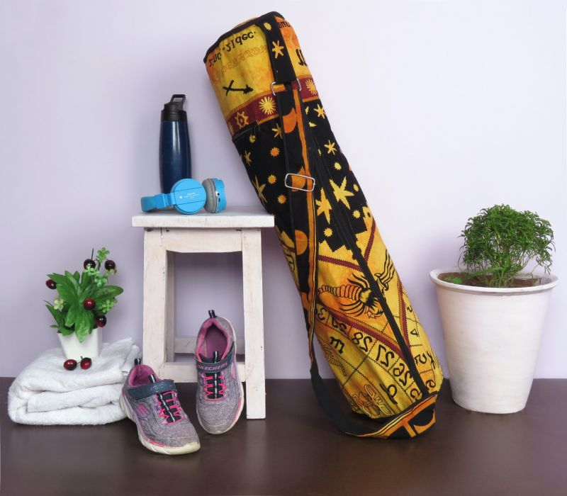 Orange Handmade Zodiac Yoga Mat Bag Celestial Cotton Printed Carrying With Shoulder Strap