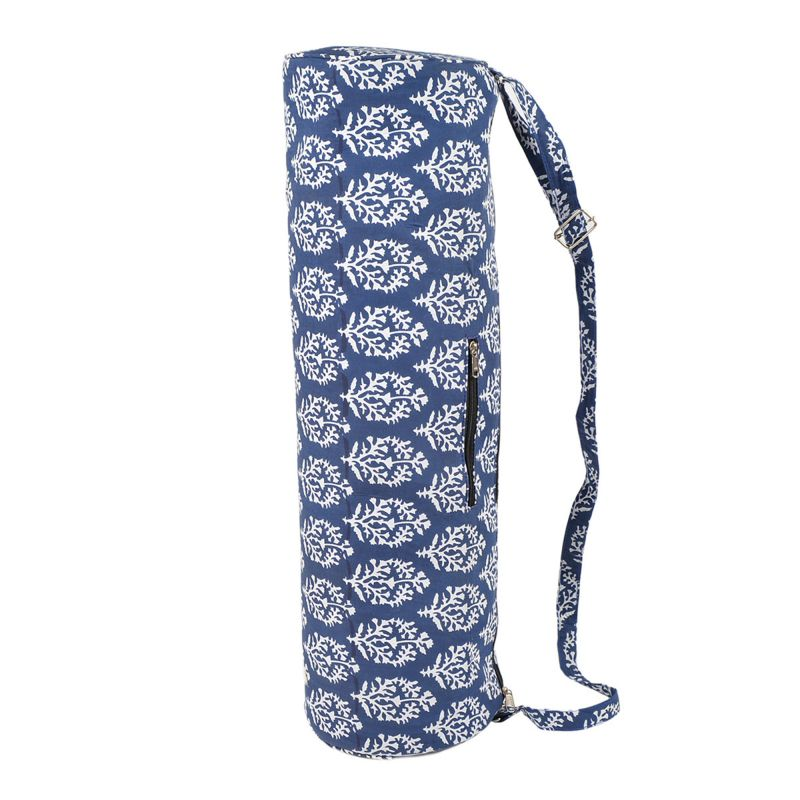 f0ced156da02 Blue Handmade Block Printed Yoga Mat Bag Cotton Printed Mat Carrying Bag  with Shoulder Strap