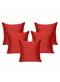 Handmade Art Silk Polka Dot Zipper Cushion Covers Set of 5