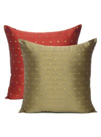 Handmade Art Silk Reversible Polka Cushion Cover for Sofa Decor