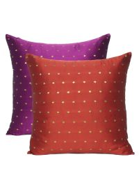 Home Decor Art Silk Reversible Solid Cushion Cover