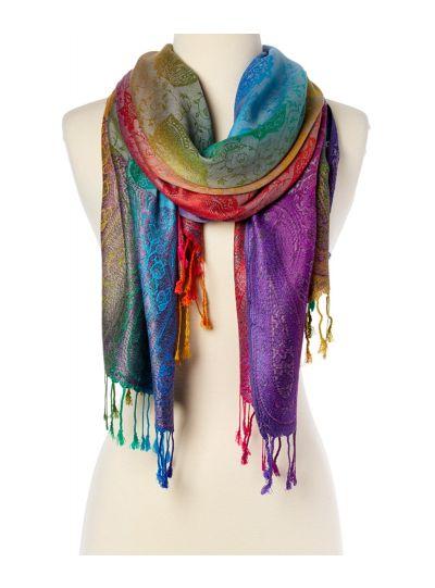 Floral Silk Blend Luxury Women's Scarf Paisley Pattern Pashmina Shawl Wraps Online