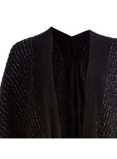Black Soft and Casual Silk Acrylic Knitted Cape Poncho for Women Winter Fashion