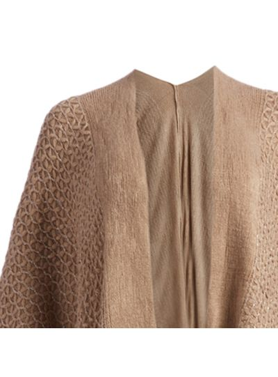Brown Soft Casual Silk Acrylic Knitted Cape Poncho for Women Winter Fashion