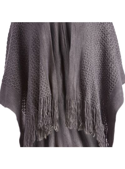 Gray Soft Casual Silk Acrylic Knitted Cape Poncho for Women Winter Fashion
