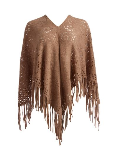 Brown Winter Style Triangle Knitted Fringes Falls Cape Ponchos for Women