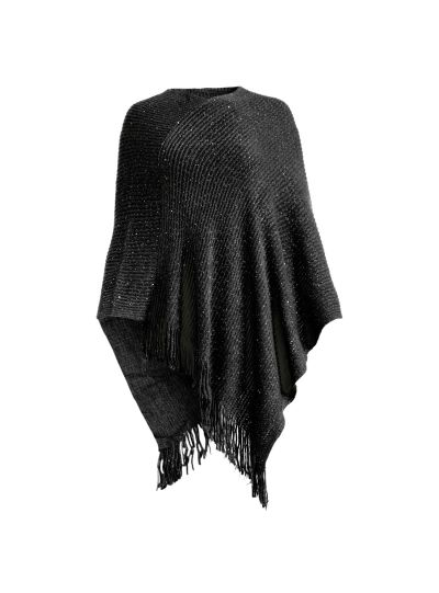 Black Casual and Warm Silk Acrylic Women's Hand Knitted Long Cape Poncho for Winter