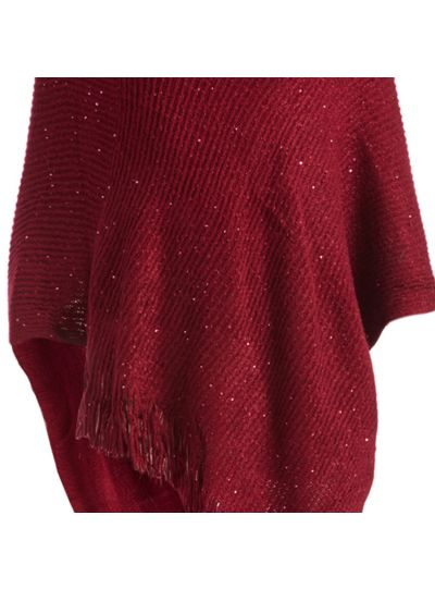 Burgundy Casual and Warm Silk Acrylic Women's Hand Knitted Long Cape Poncho for Winter