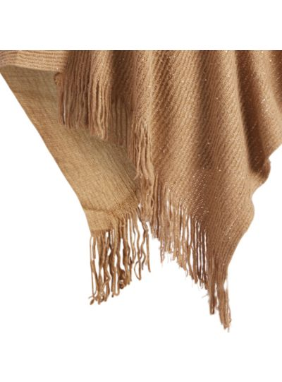 Beige Casual and Warm Silk Acrylic Women's Hand Knitted Long Cape Poncho for Winter
