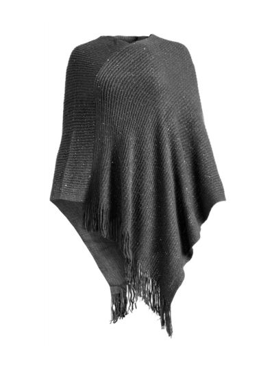 Gray Casual and Warm Silk Acrylic Women's Hand Knitted Long Cape Poncho for Winter