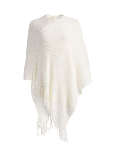 White Casual and Warm Silk Acrylic Women's Hand Knitted Long Cape Poncho for Winter