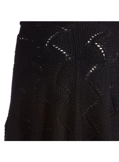 Black Silk Acrylic Long Women's Knitted Cape Poncho Neck Warmer Women Cowl Wrap