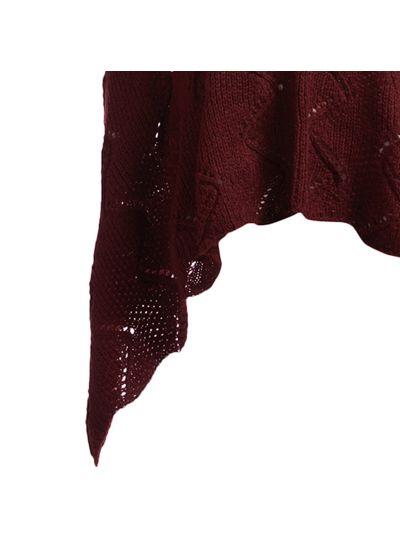 Burgundy Silk Acrylic Long Women's Knitted Cape Poncho Neck Warmer Women Cowl Wrap
