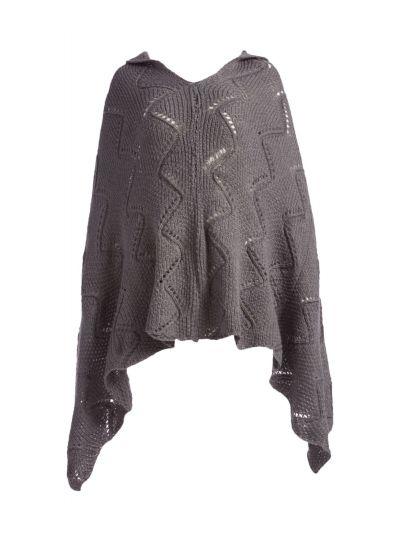 Gray Silk Acrylic Long Women's Knitted Cape Poncho Neck Warmer Women Cowl Wrap
