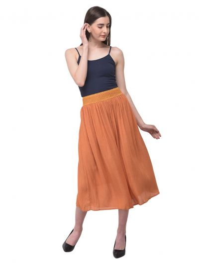 Women Solid Rayon Gauze Skirt Elastic Waist Casual Summer Skirt