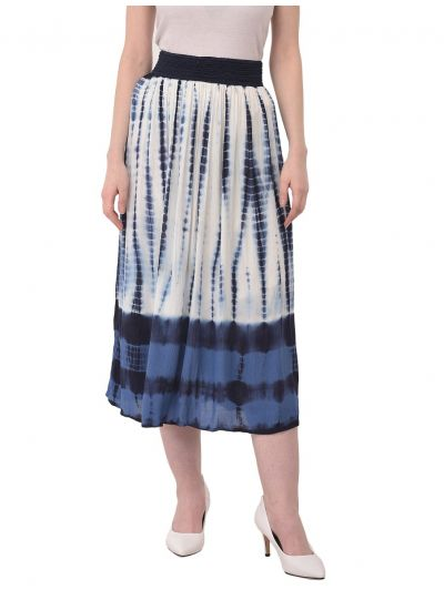 Women Tie Dye Skirt Rayon Strip Midi Dress High Waist Girls Skirts