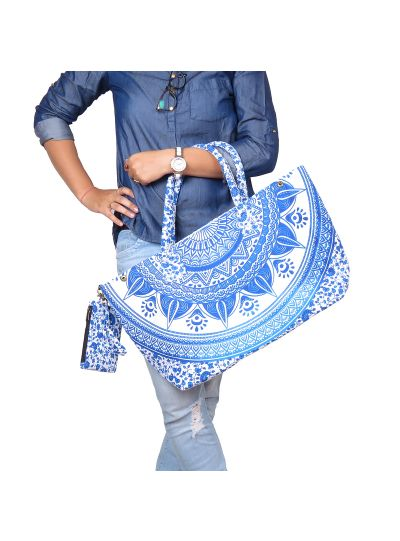Blue Stylish Boho Mandala Printed Spacious Picnic Beach Tote Bag
